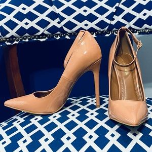 Blush patent classic pointy toe ankle strap pumps